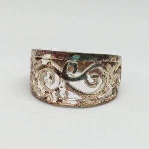 Sterling Silver Scrolled Swirl Ring Band